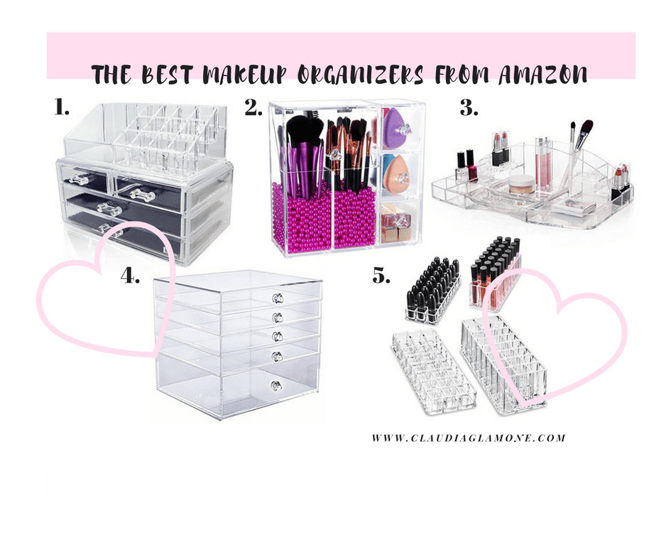 the best makeup organizers from amazon claudia glamone. Black Bedroom Furniture Sets. Home Design Ideas